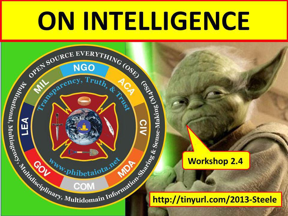 ON INTELLIGENCE For an overview, see the Overview briefing, posted online at. http://tinyurl.com/2013-Steele.