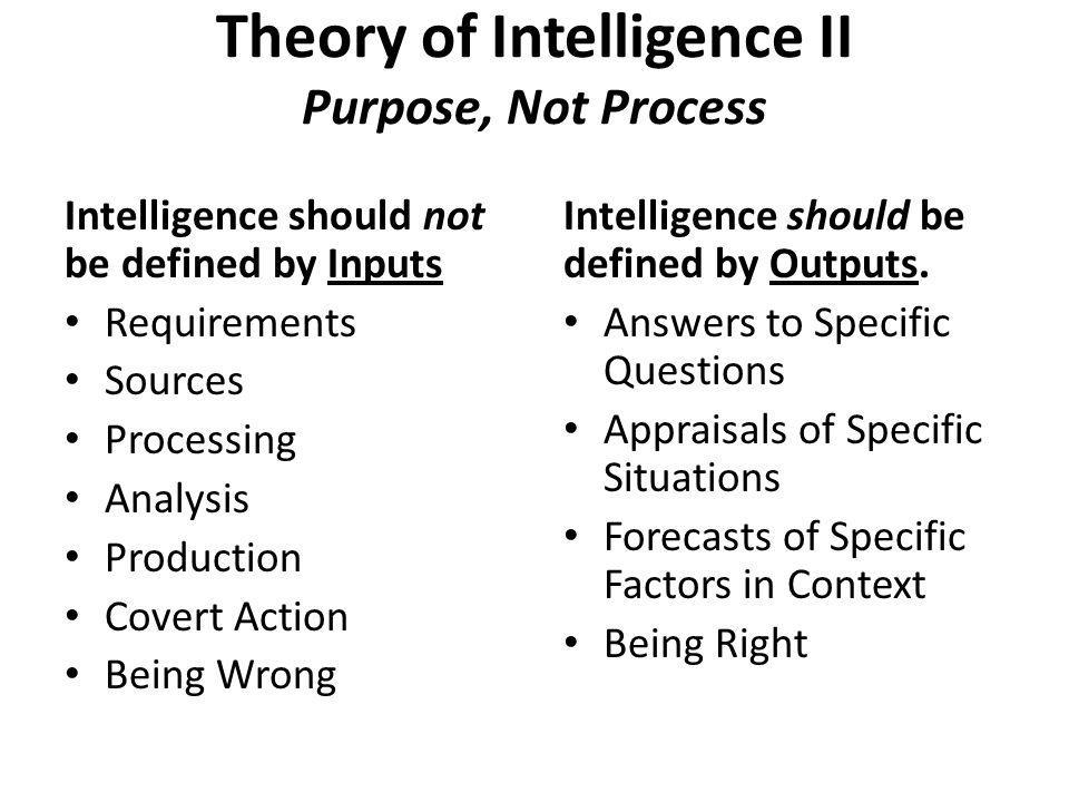 Theory of Intelligence II Purpose, Not Process