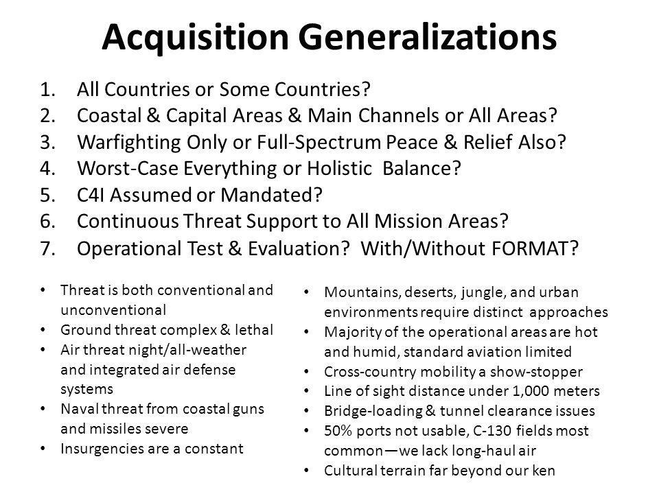 Acquisition Generalizations