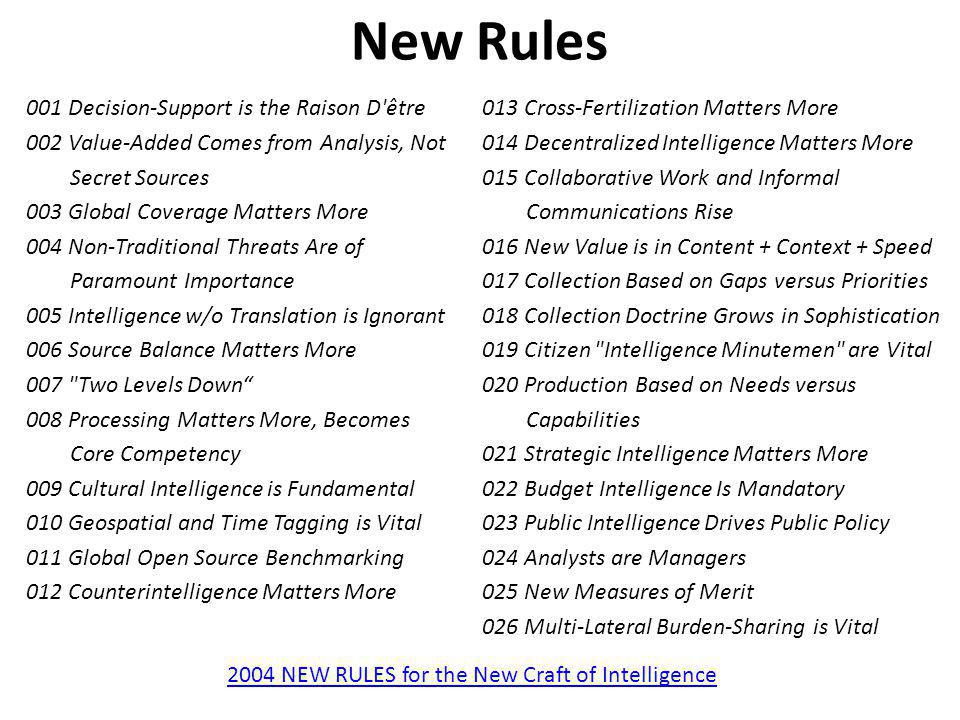 2004 NEW RULES for the New Craft of Intelligence