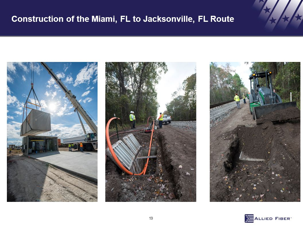 Construction of the Miami, FL to Jacksonville, FL Route