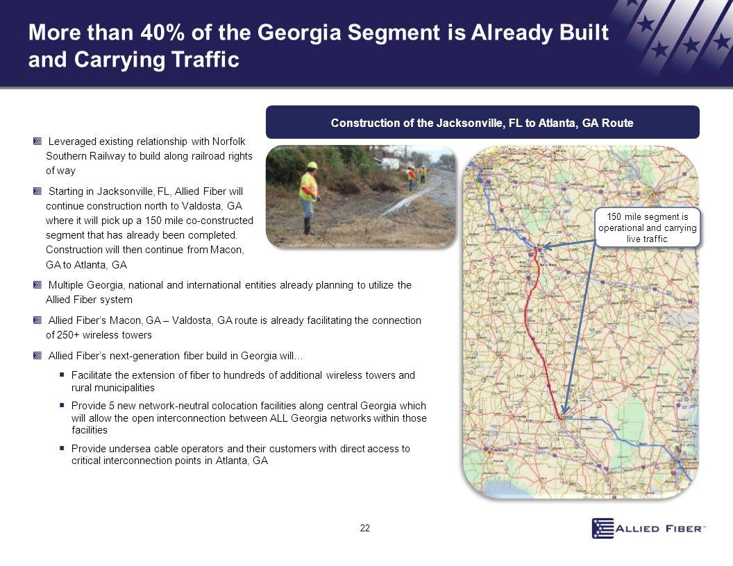 Construction of the Jacksonville, FL to Atlanta, GA Route