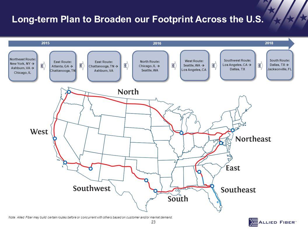 Long-term Plan to Broaden our Footprint Across the U.S.