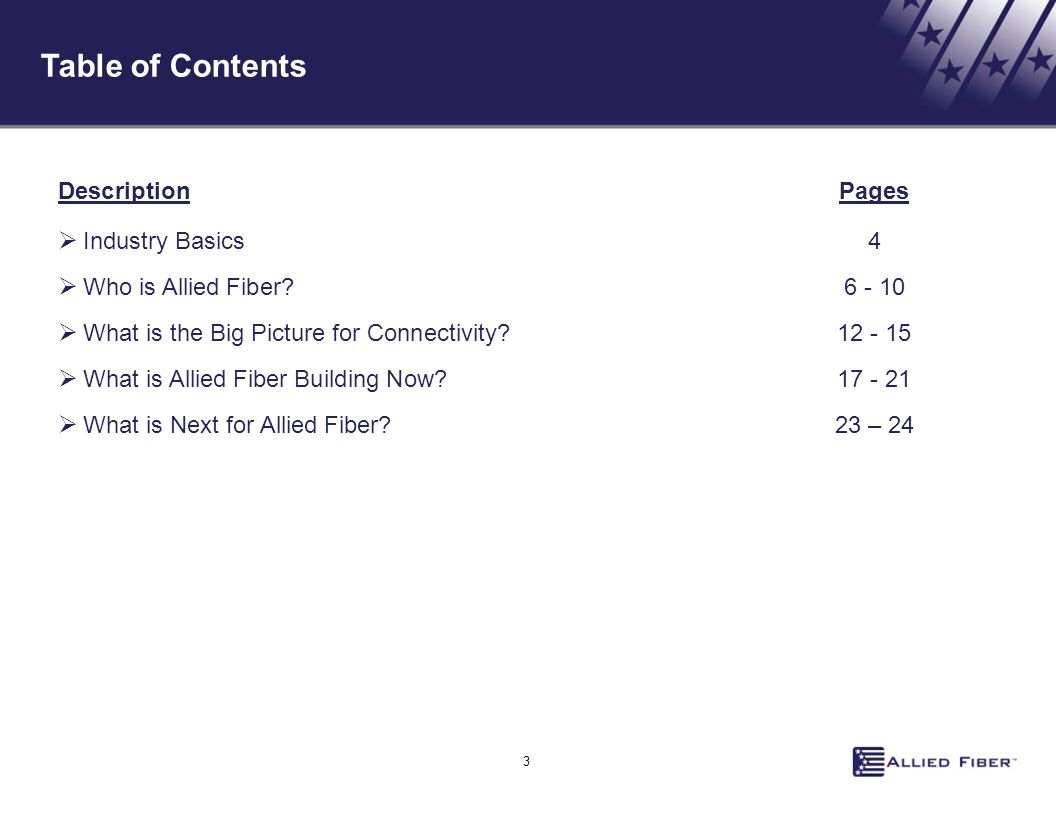 Table of Contents Description Pages Industry Basics 4