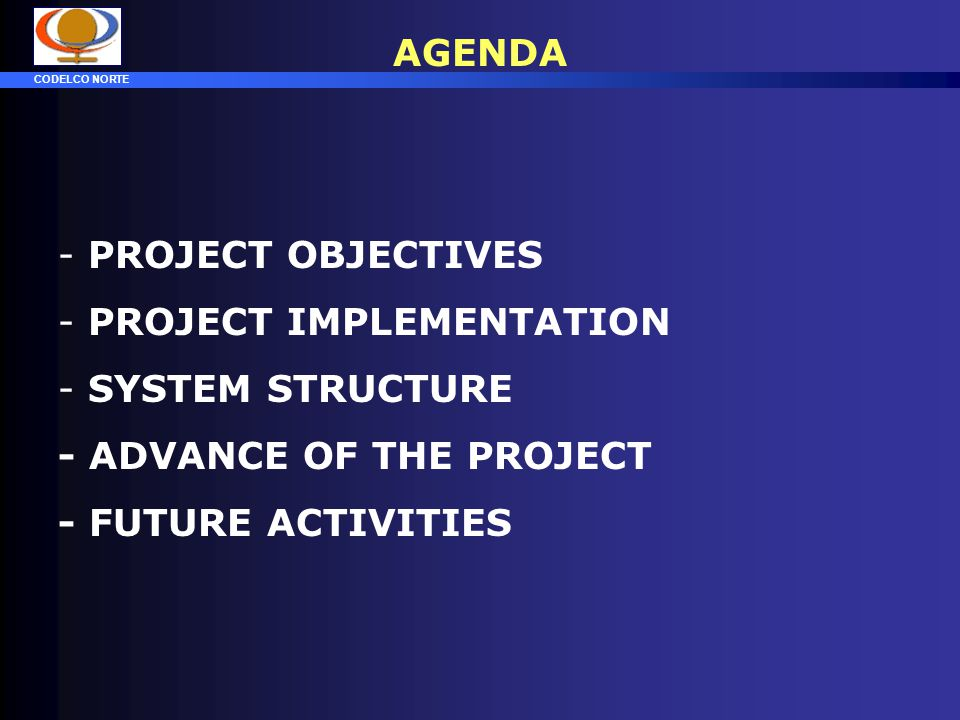 AGENDA PROJECT OBJECTIVES. PROJECT IMPLEMENTATION.
