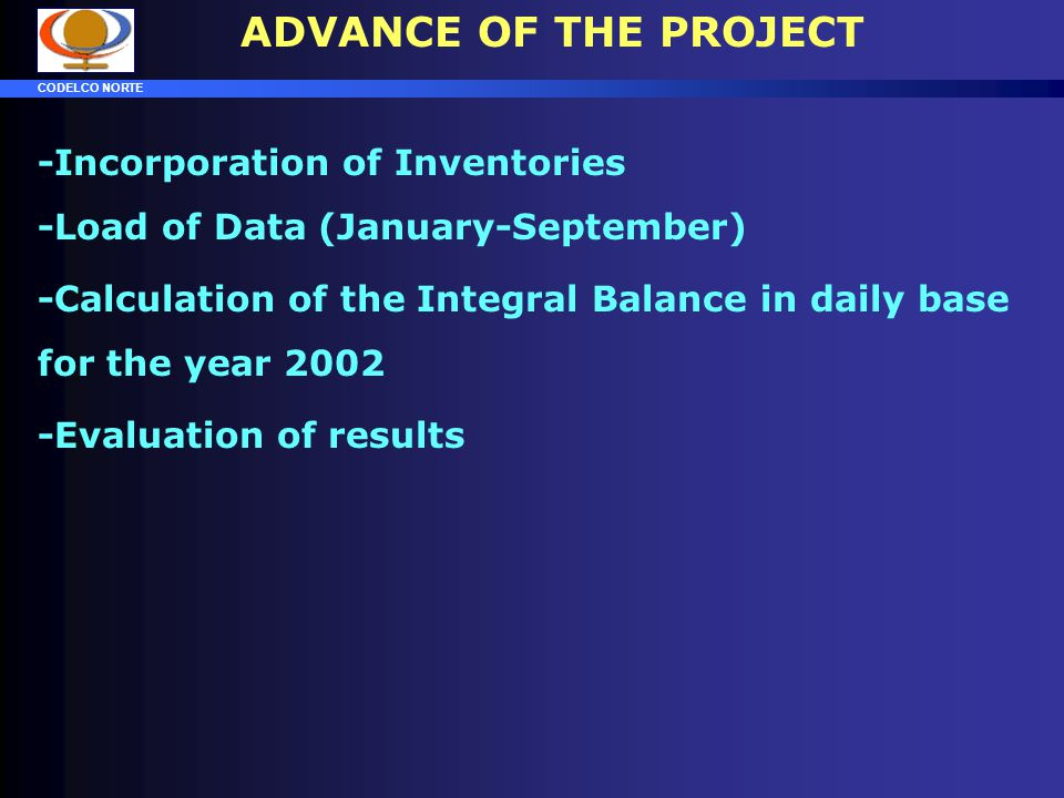 ADVANCE OF THE PROJECT -Incorporation of Inventories