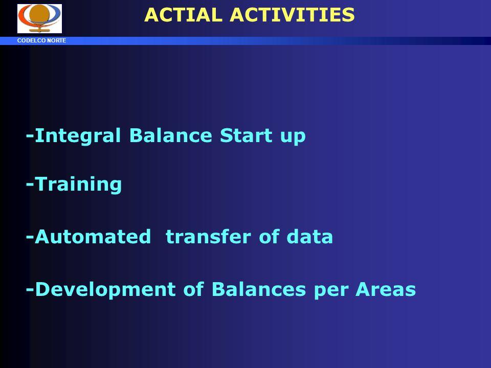 ACTIAL ACTIVITIES -Integral Balance Start up. -Training.