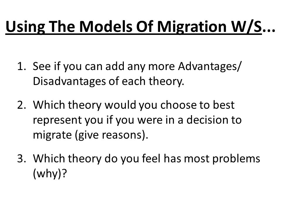Using The Models Of Migration W/S...