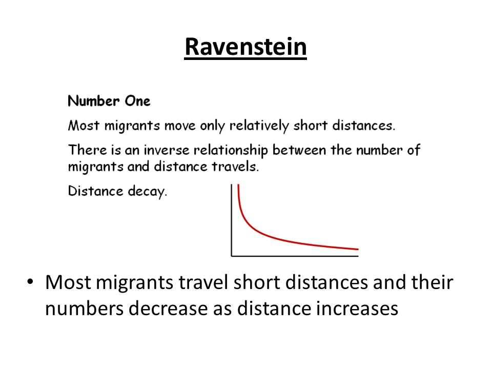 Ravenstein Most migrants travel short distances and their numbers decrease as distance increases