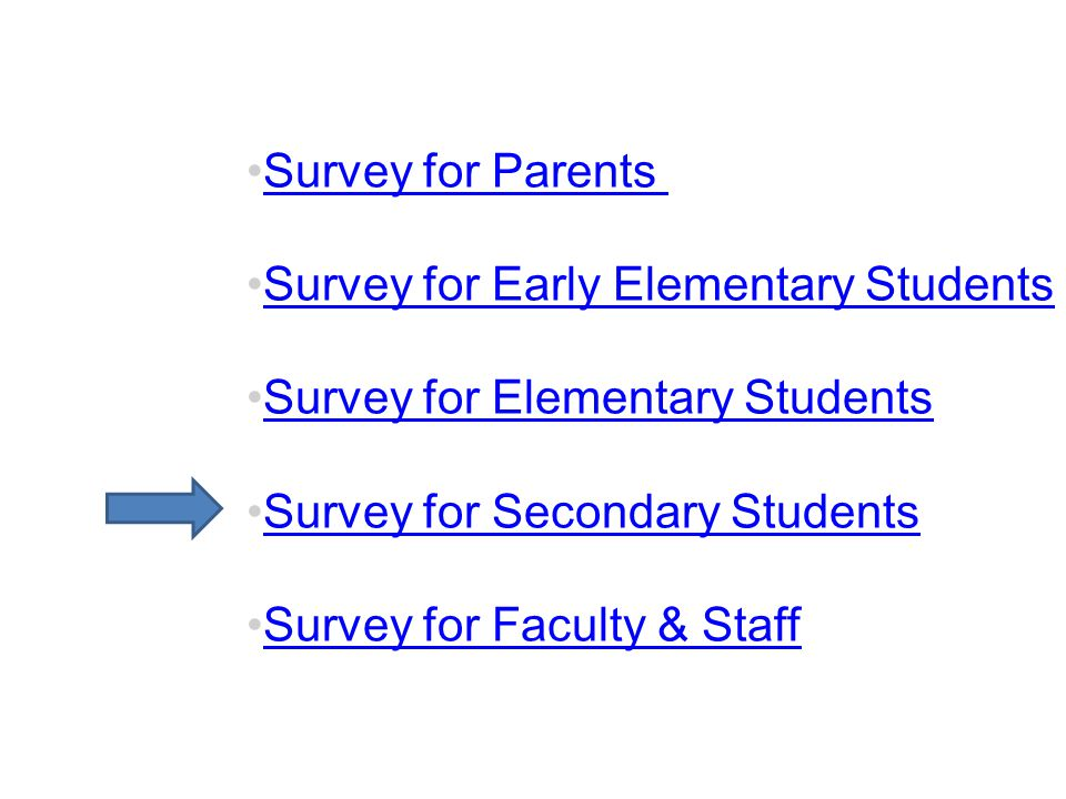 Survey for Parents Survey for Early Elementary Students. Survey for Elementary Students. Survey for Secondary Students.