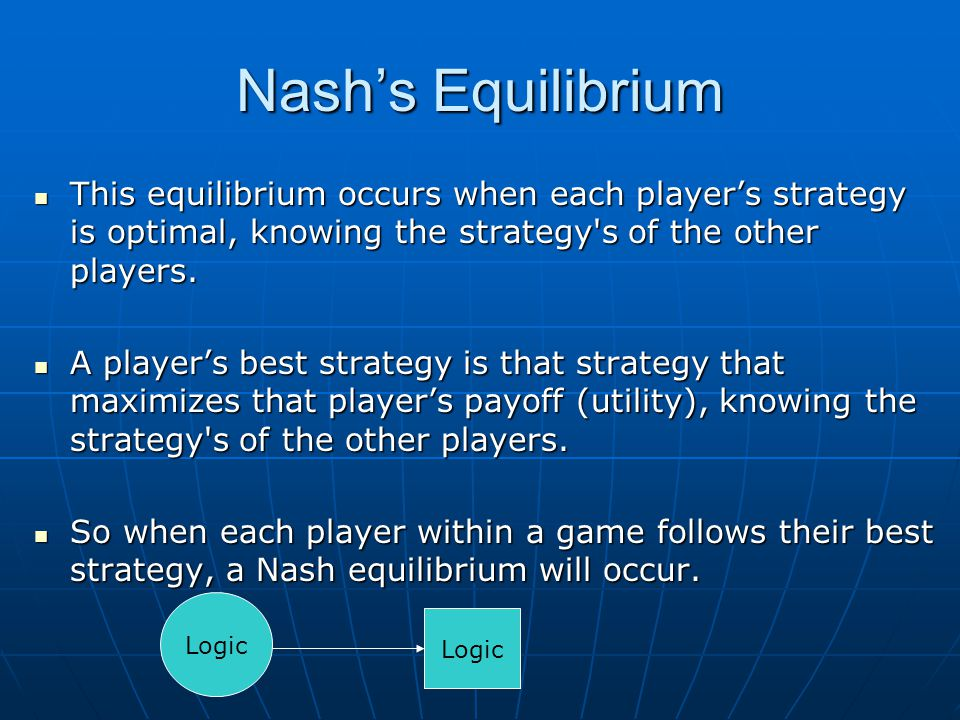 Nash's Equilibrium This equilibrium occurs when each player's strategy is optimal, knowing the strategy s of the other players.