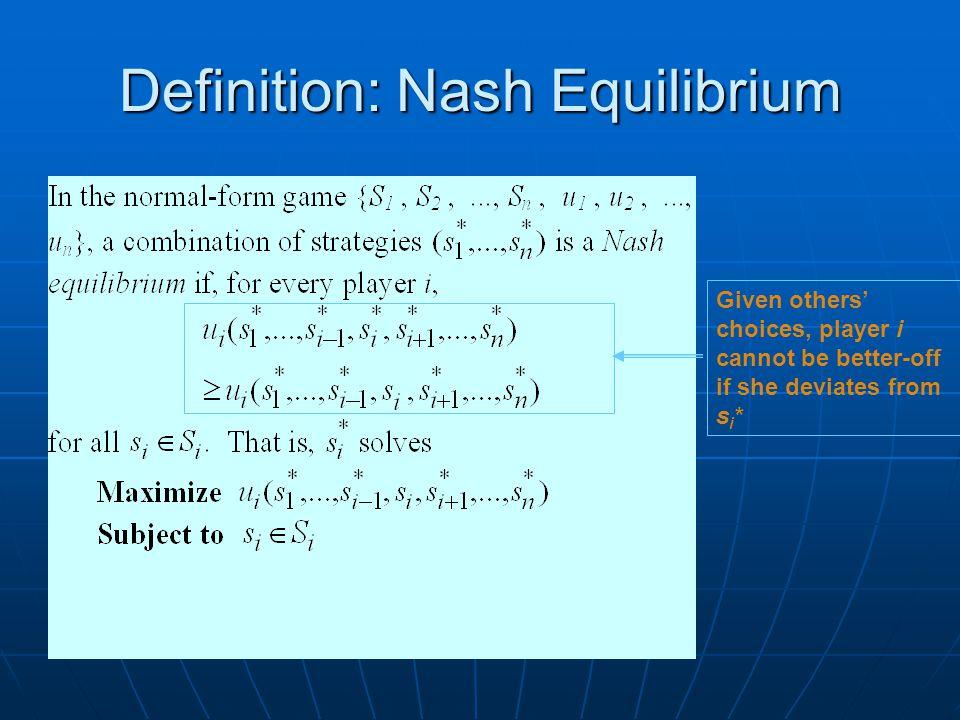 Definition: Nash Equilibrium