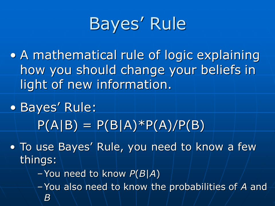 Bayes' Rule A mathematical rule of logic explaining how you should change your beliefs in light of new information.
