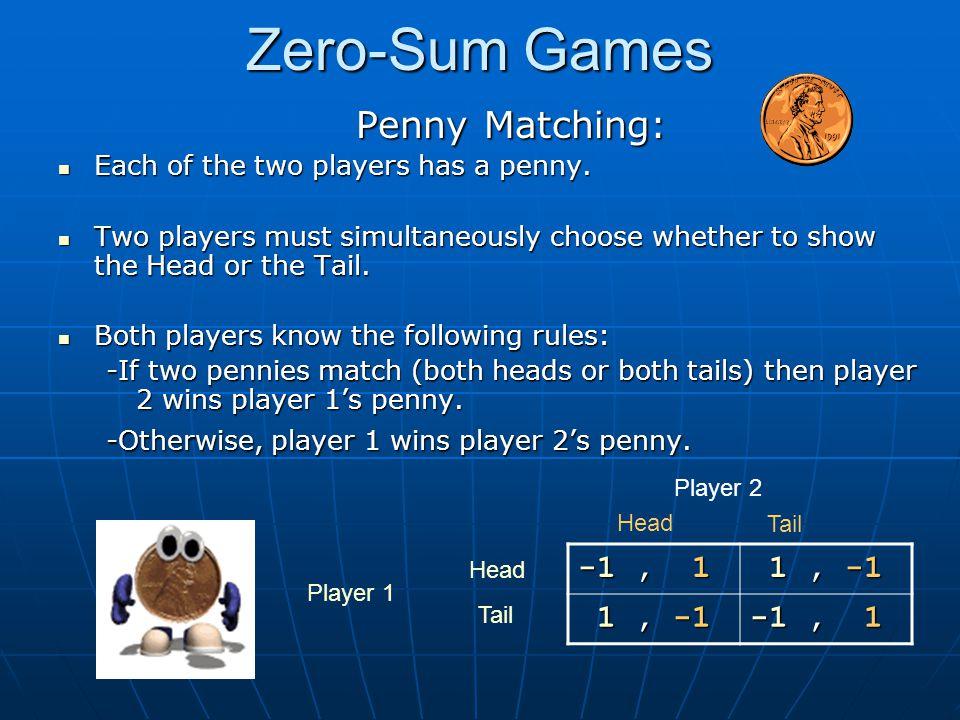 Zero-Sum Games Penny Matching: -1 , 1 1 , -1