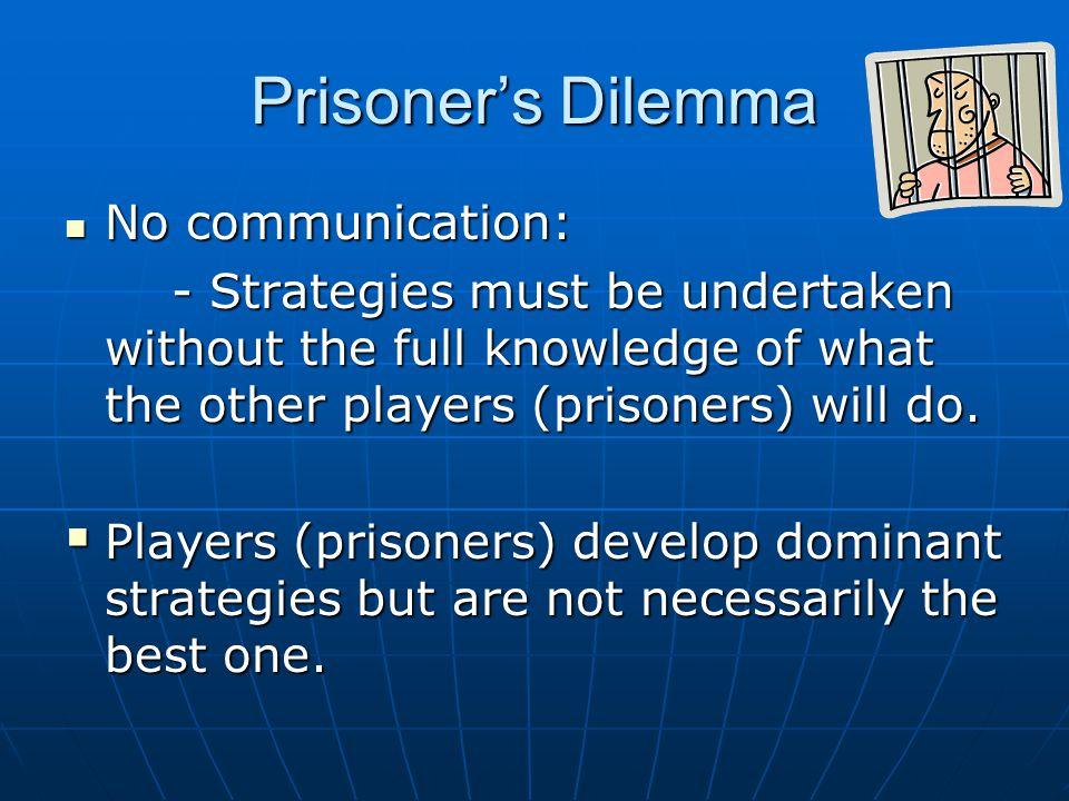 Prisoner's Dilemma No communication: