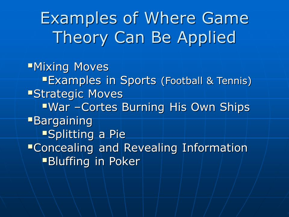Examples of Where Game Theory Can Be Applied