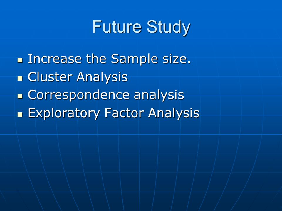 Future Study Increase the Sample size. Cluster Analysis