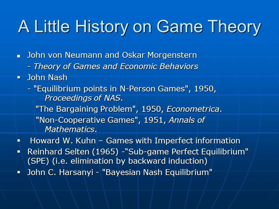 A Little History on Game Theory