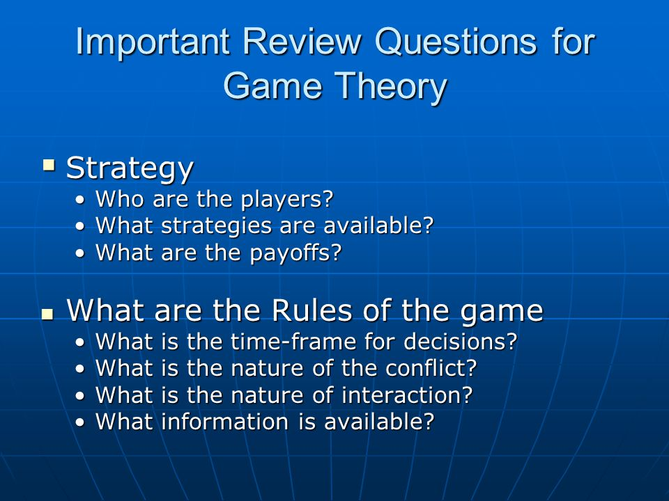 Important Review Questions for Game Theory