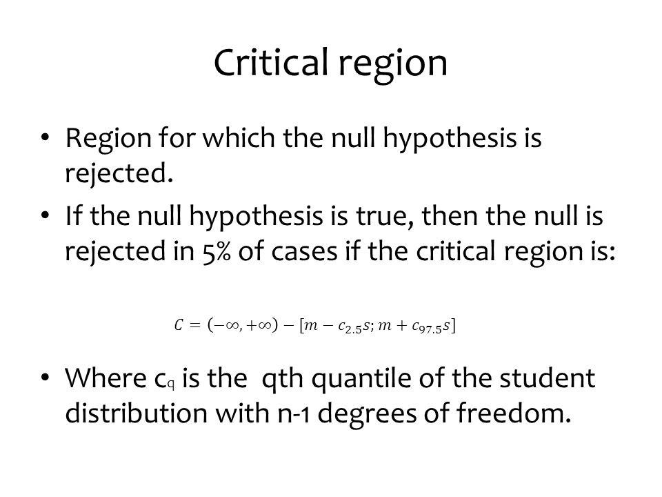 Critical region Region for which the null hypothesis is rejected.