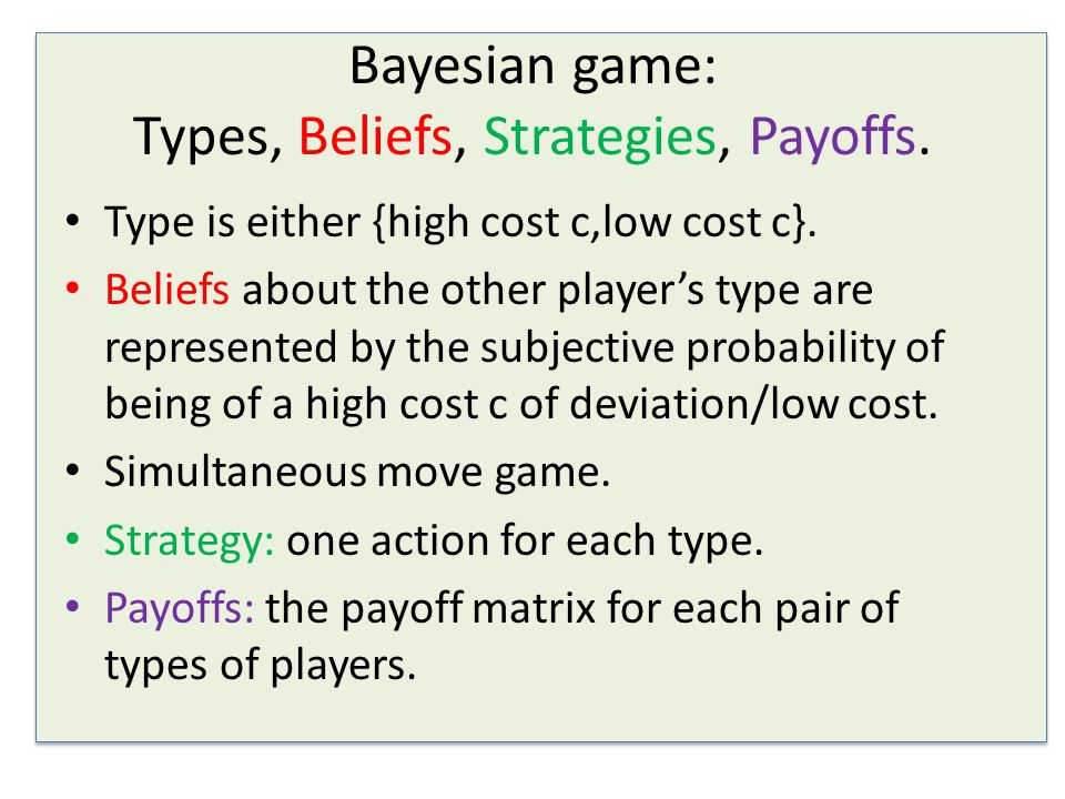 Bayesian game: Types, Beliefs, Strategies, Payoffs.