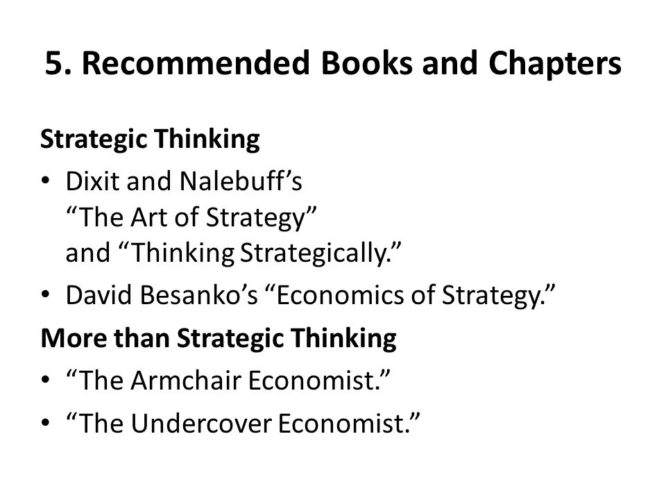 5. Recommended Books and Chapters