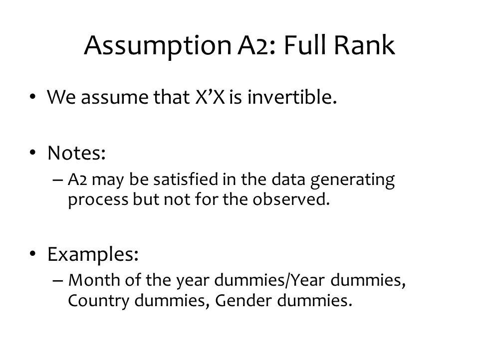 Assumption A2: Full Rank