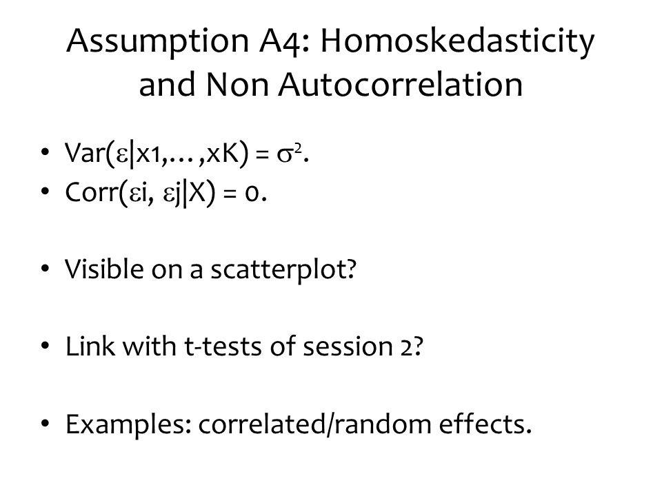 Assumption A4: Homoskedasticity and Non Autocorrelation