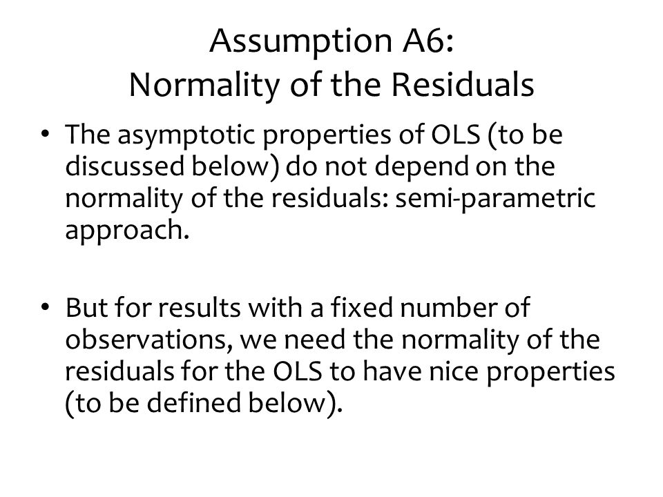 Assumption A6: Normality of the Residuals