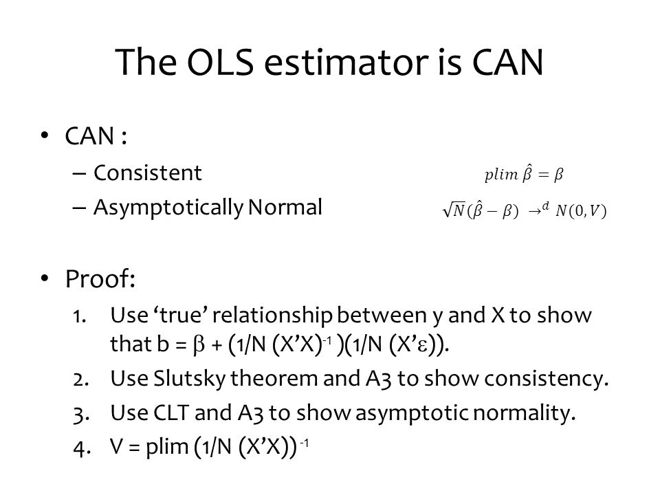 The OLS estimator is CAN