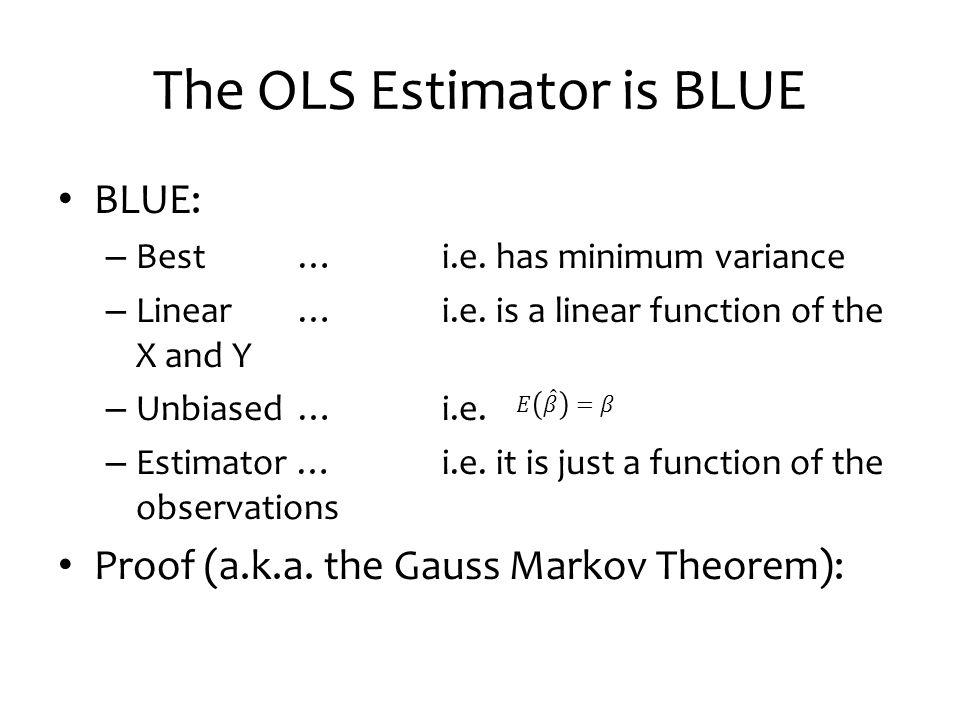 The OLS Estimator is BLUE