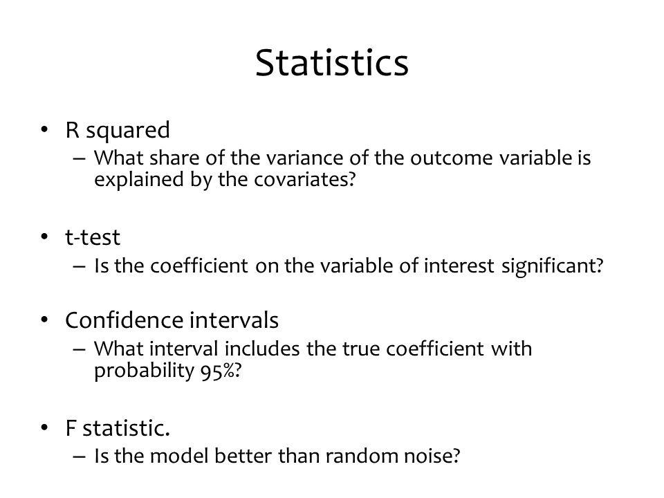 Statistics R squared t-test Confidence intervals F statistic.