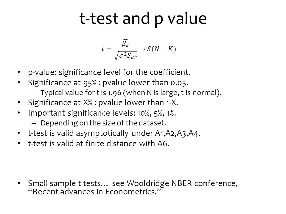 t-test and p value p-value: significance level for the coefficient.