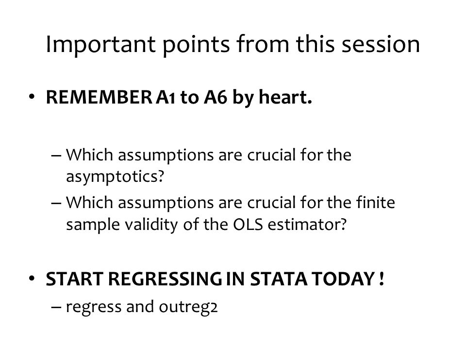 Important points from this session