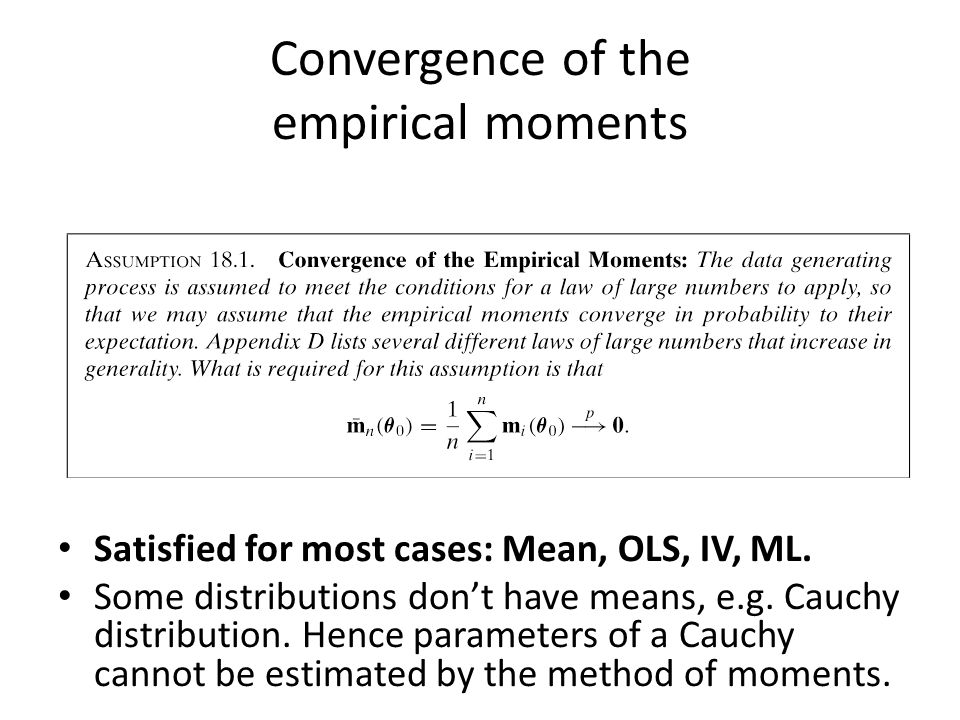 Convergence of the empirical moments