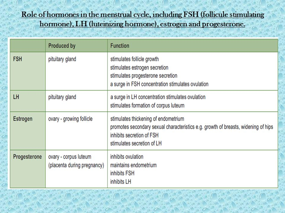Role of hormones in the menstrual cycle, including FSH (follicule stimulating hormone), LH (luteinizing hormone), estrogen and progesterone.