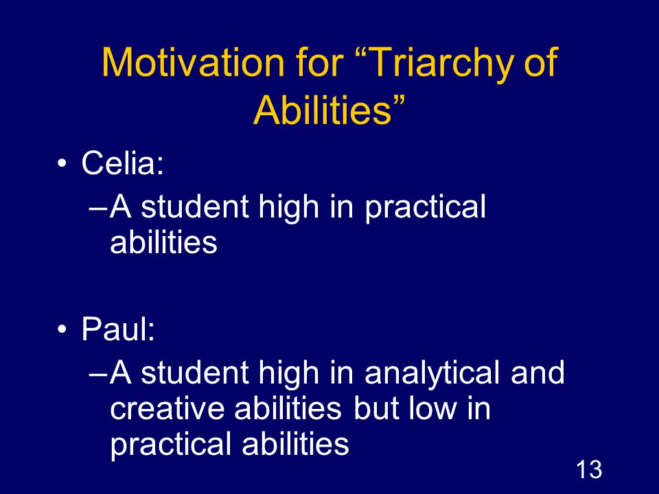 Motivation for Triarchy of Abilities