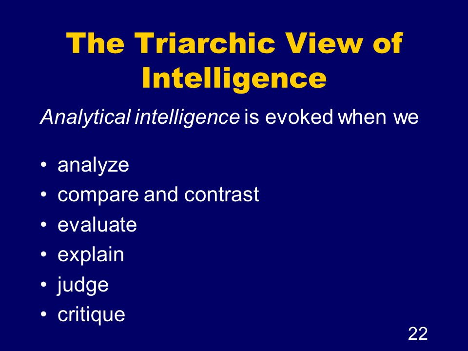 The Triarchic View of Intelligence