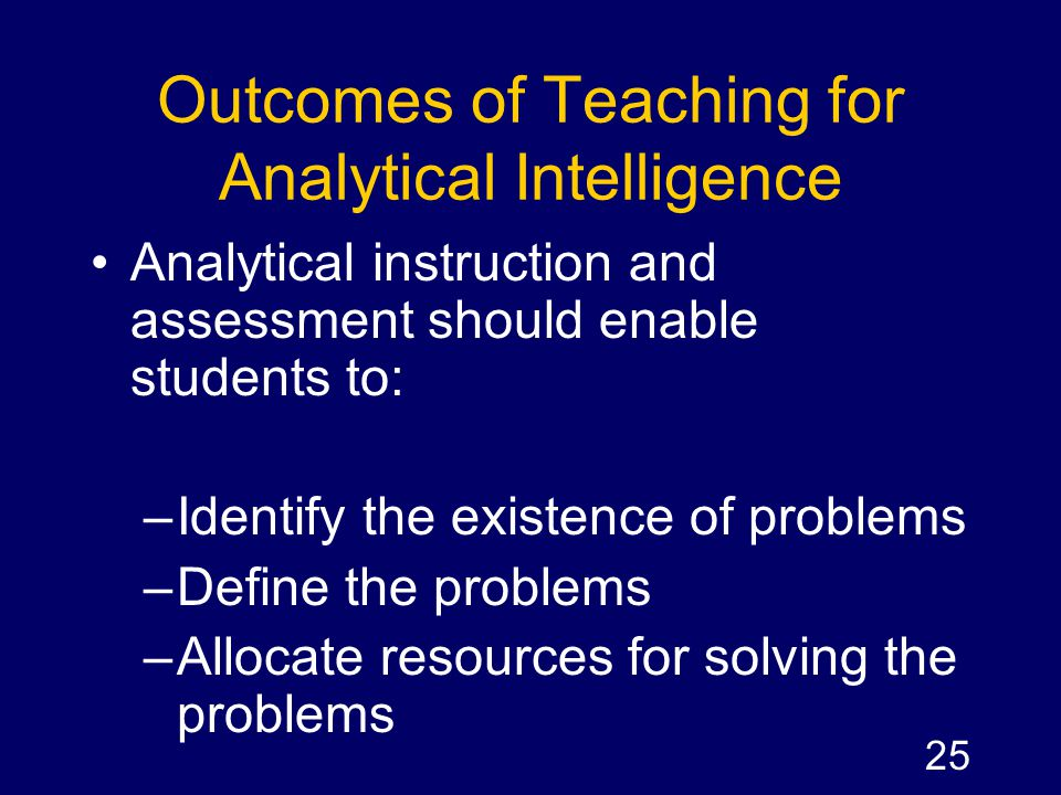 Outcomes of Teaching for Analytical Intelligence