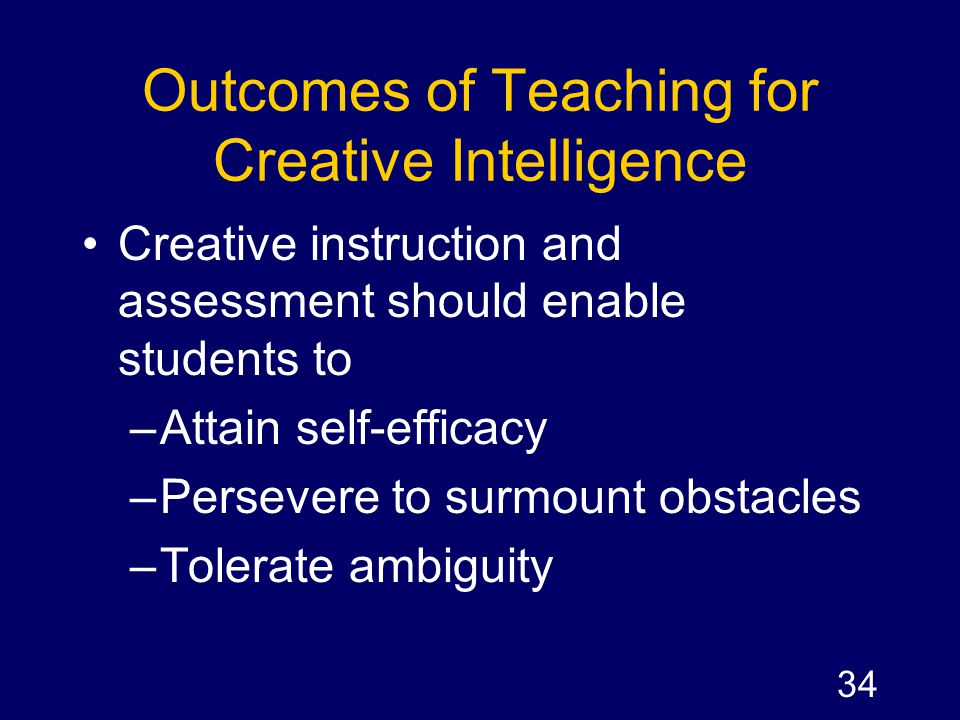 Outcomes of Teaching for Creative Intelligence