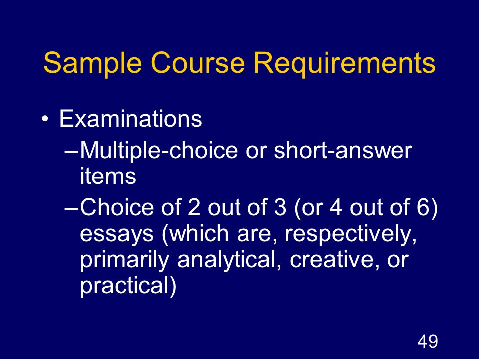 Sample Course Requirements