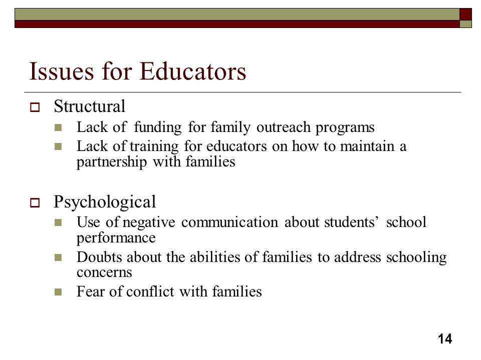 Issues for Educators Structural Psychological