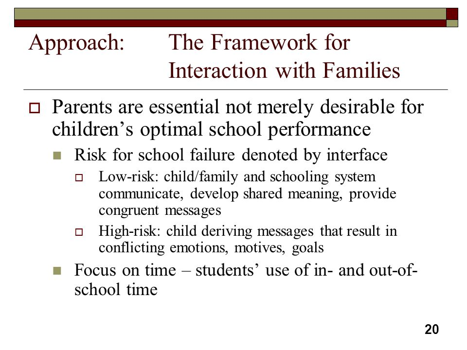 Approach: The Framework for Interaction with Families