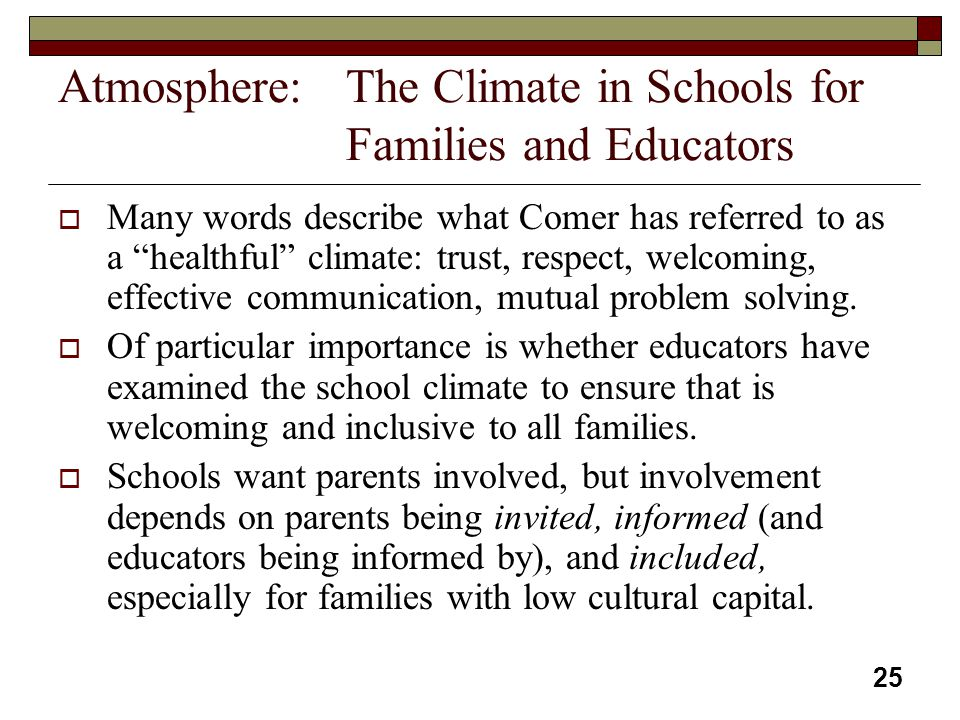 Atmosphere: The Climate in Schools for Families and Educators