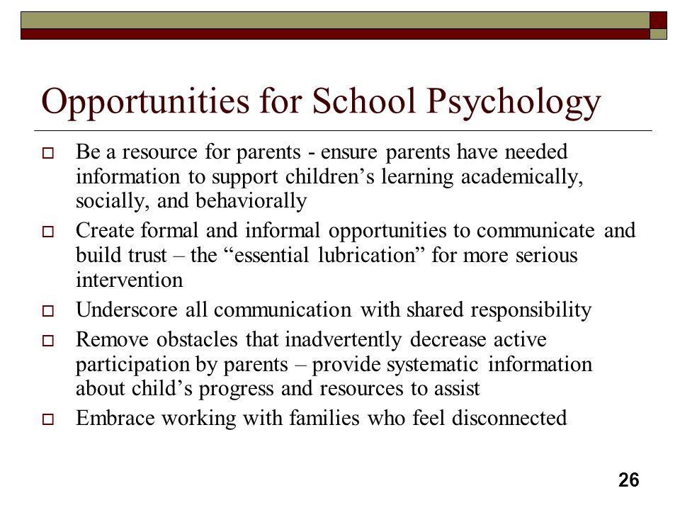 Opportunities for School Psychology