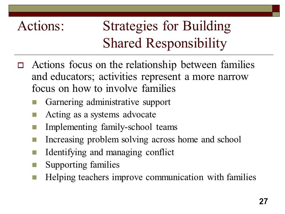 Actions: Strategies for Building Shared Responsibility