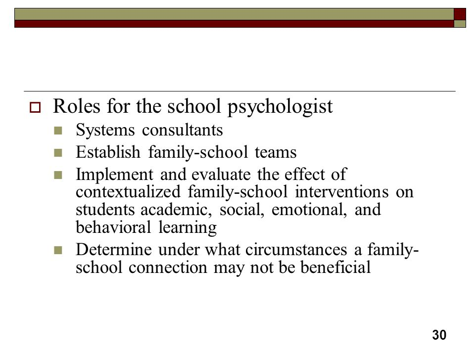Roles for the school psychologist