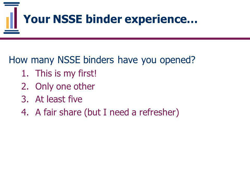 Your NSSE binder experience…