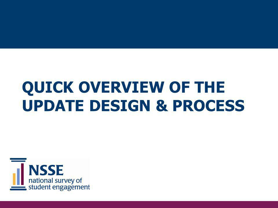 QUICK Overview of the Update Design & Process