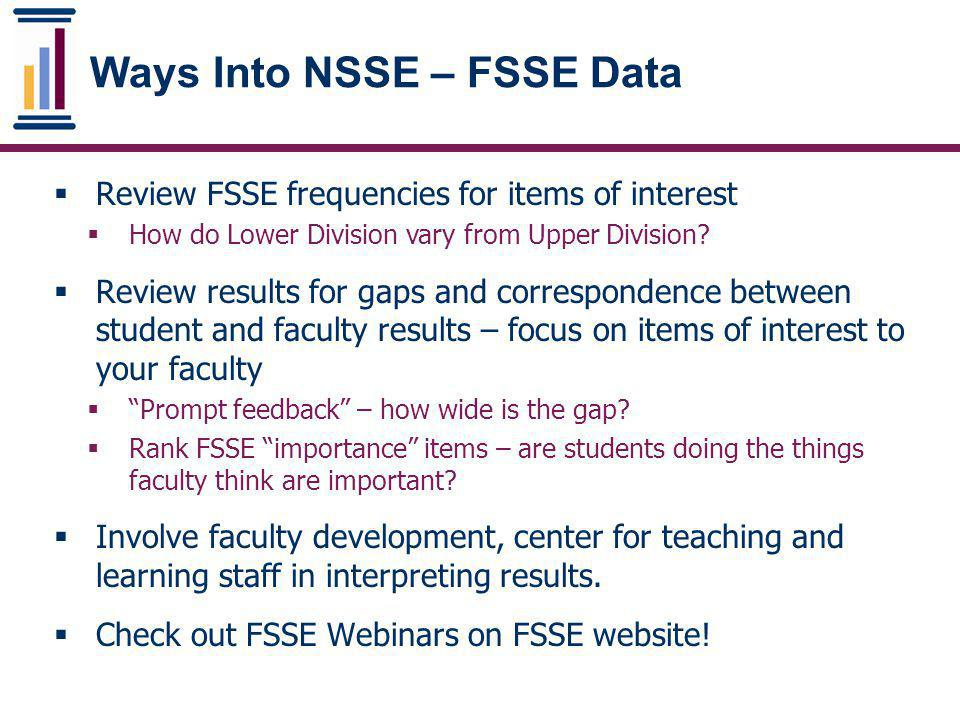 Ways Into NSSE – FSSE Data